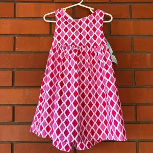 JUST PEACHY Girl's Dress Pink White BOW Size 3T